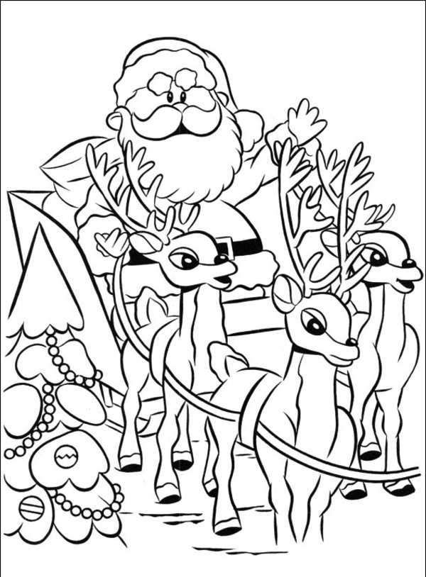 Santa Clause Sleigh Coloring Page Santa Coloring Pages