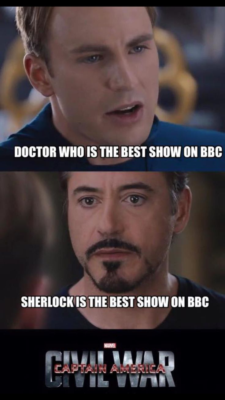 WELL, I KNOW WHICH SIDE I'M ON NOW.  GO CAPTAIN!!!!! Civil War: Sherlock vs. Doctor Who  