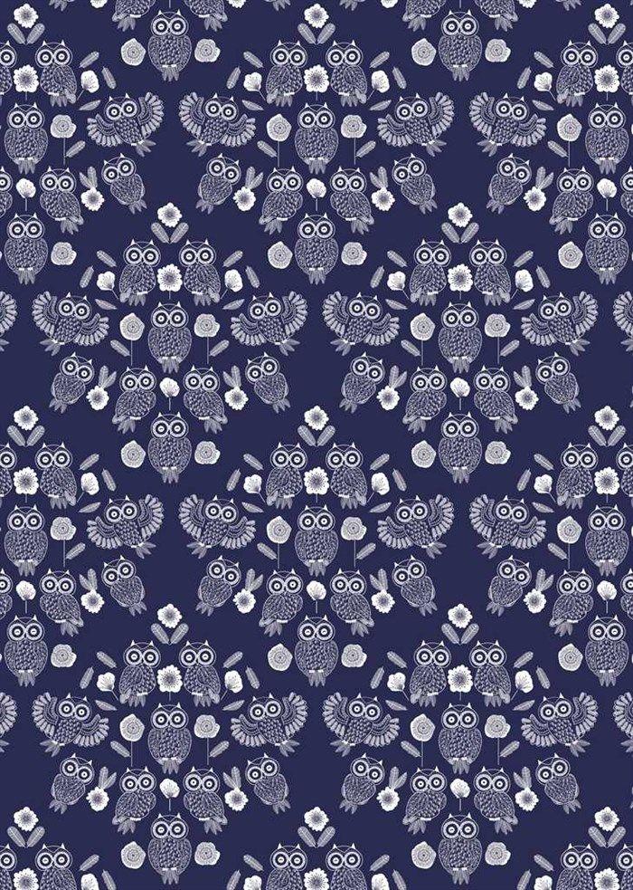 Owl Pattern on Blue