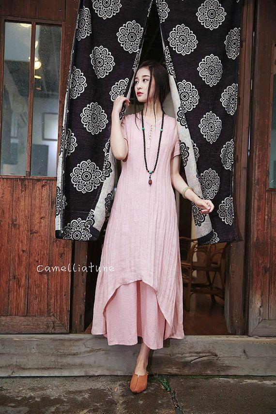 Maxi abito in lino nel salmone doppio vestito a strati lino