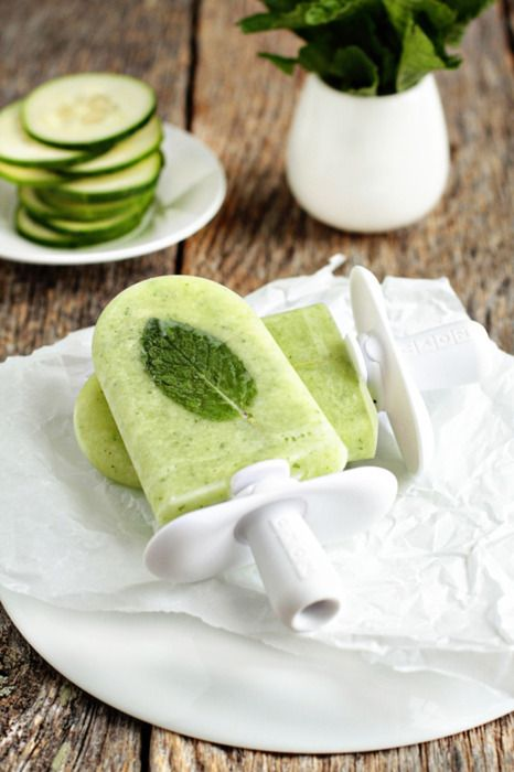 Makes 6 pops INGREDIENTS1 cucumber, peeled & sliced2 limes, freshly squeezed10 mint leaves1 cup water½ cup sugar3 mint leaves (optional)1 tsp tequila per popsic