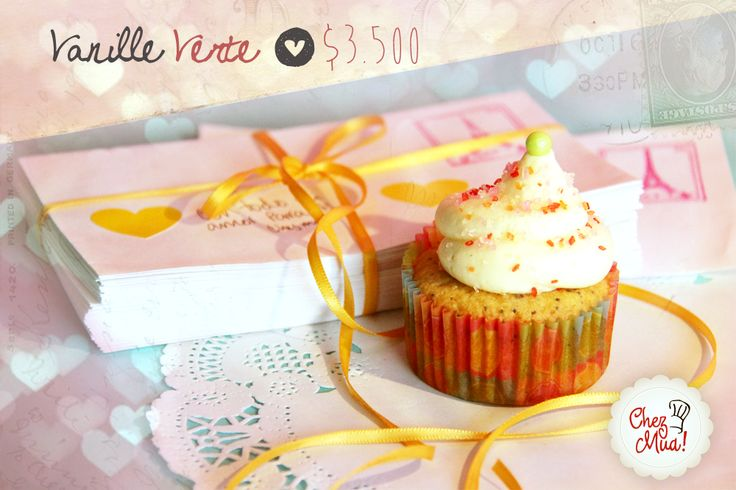 ¡Vanille Verte!   En francés el idioma del amor es vanille verte, y en español es vainilla verde, para esos amores que apenas están comenzando a tejer su historia.   #amor #amistad #calico #cupcakes
