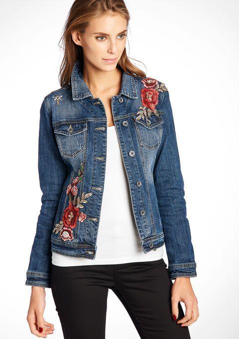 Jeans jas met borduurwerk details - MEDIUM BLUE - 09000868_500