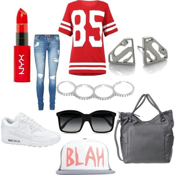 Football T-Shirt Jeans White Nike Airmax 90 Gray bag Superman earrings Silver ring BLAH hat  Sunglasses ,lipstick