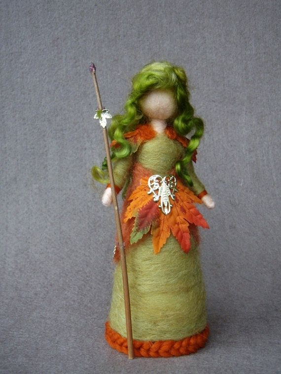 Autumn Fairy Doll Needle Felted Wool Soft Sculpture by Holichsmir, $40.00