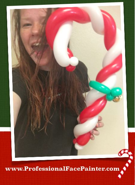 29 best christmas face painting and balloons images on for Candy cane balloon sculpture