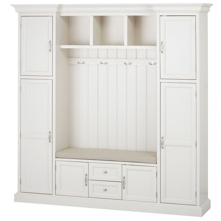 Home Decorators Collection Royce 4-Hook Contemporary Wood All-in-One Mudroom/Hall Tree in Polar White