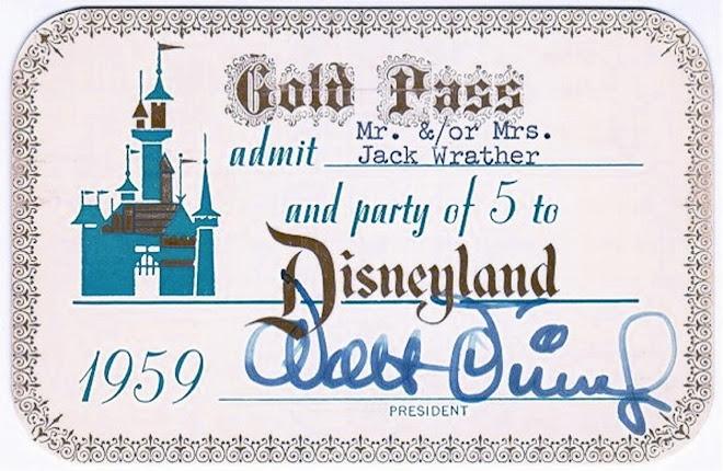 Disneyland Gold Pass, 1959