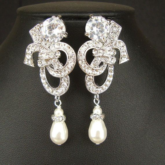 Crystal & Pearl Bridal Earrings Vintage Inspired by luxedeluxe, $68.00