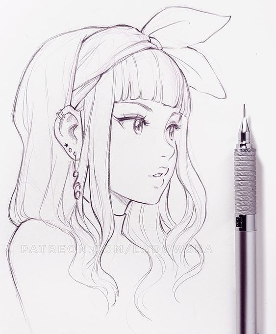 Manga Girl Skizze farbiges Design digitale Zeichnung Bleistift Stift – Sehen Sie, wie Mensche…