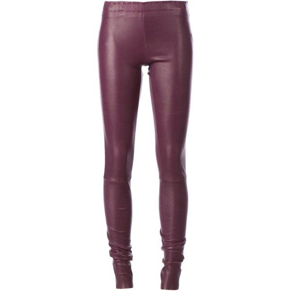 Stouls Leather Slim Trousers (1,735 CAD) ❤ liked on Polyvore featuring pants, purple skinny pants, slim trousers, elastic waistband pants, purple pants and skinny fit pants