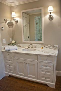 Empty Nester traditional bathroom  Wall Color:  Benajmin Moore Revere Pewter HC 172 Good bathroom color