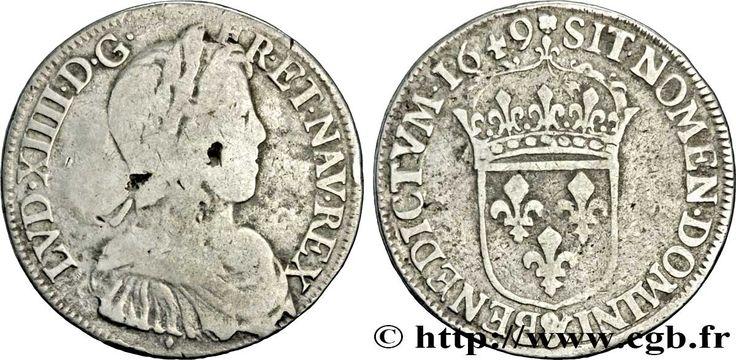 roi rene aix en provence   ... OU LE ROI SOLEIL Demi-écu à la mèche longue 1649 Aix-en-Provence