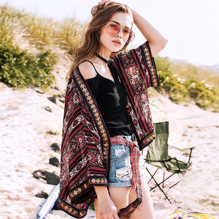 STH275 New Arrival 2016 women oversized summer outwear sequined braid patchwork ethnic print chiffon cardigan