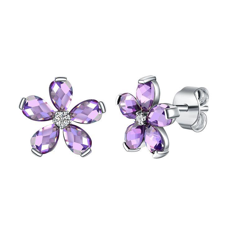 Cercei Nahla Jewels argint floare cu zirconii lavandă