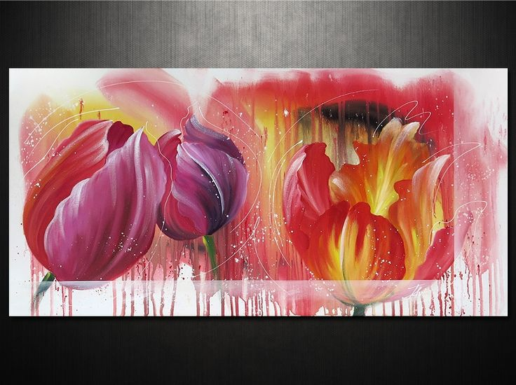 Gyönyörű tulipánok festett vászonképen. Óvárdesign webáruház cikkszám: 6507