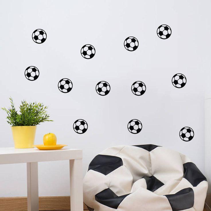 diy black football vinyl wall sticker soccer ball kid room decal stickers boys decor sports waterproof removable home decor