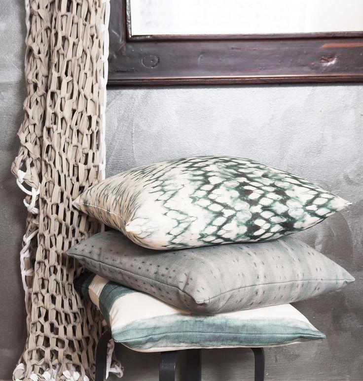 Shibori Ocean Cushion Stack featuring Stripe, Cityscape Day & Entomology