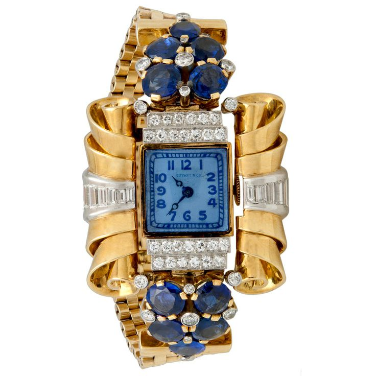 Tiffany & Co Yellow Gold, Diamond and Sapphire Retro Bracelet Watch, ca. 1940s