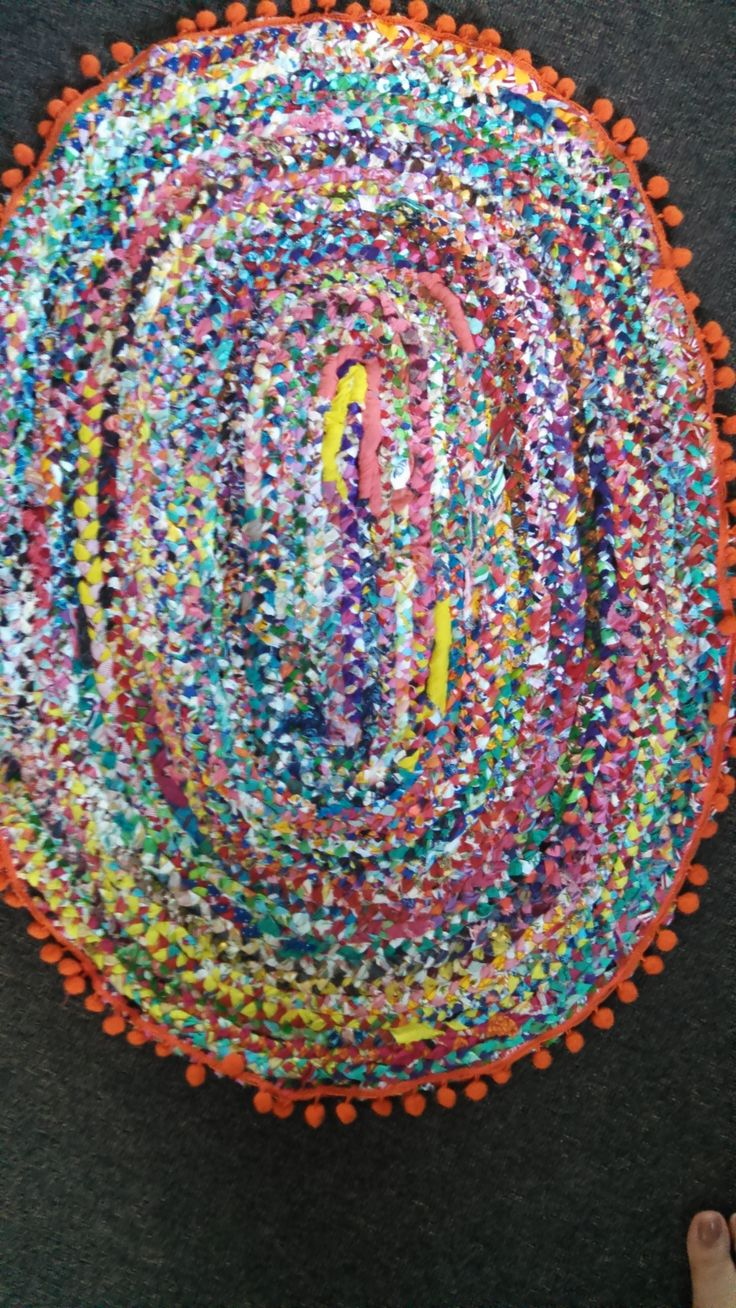 First rag rug. Colours are actually a lot brighter.