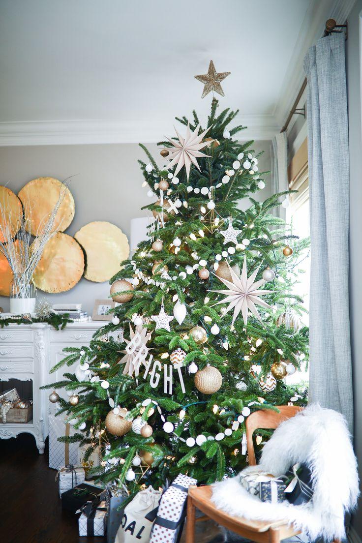 Coastal christmas decor - White Gold Christmas Decor