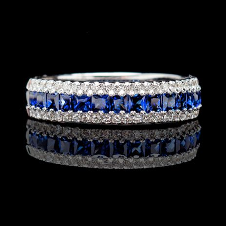As My Wedding Band White Gold Three Row Sapphire Diamond Center Of Rich Blue Sapphires Lined On Either Side With Outer Rows Diamonds