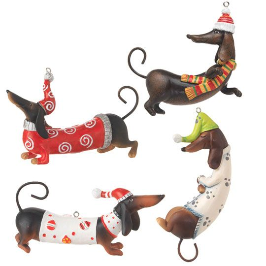 Dachshund Pyramid         Dachshund with birds figure       Dachshund Glass Christmas Ornaments                Available 2010   Four Dachs...