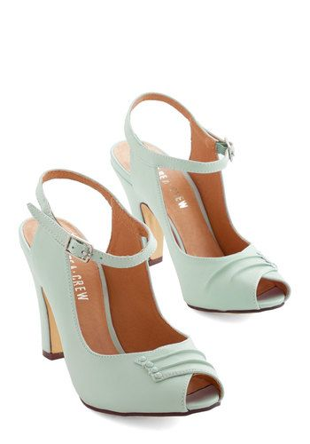 Say It With Sophistication Heel in Mint by Chelsea Crew - High, Mint, Solid, Wedding, Work, Daytime Party, Bridesmaid, Vintage Inspired, 20s...