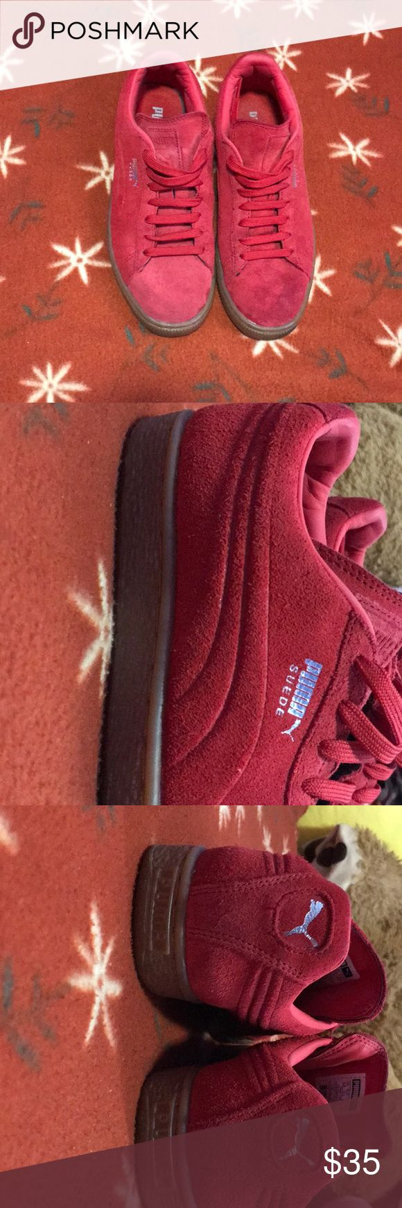 PUMA Red Suede shoes Very comfy, easy to pair up with any outfit and price reflects condition Puma Shoes Sneakers