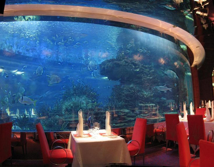 """In Dubai-The Al Mahara (which on Arabic means """"The Oyster""""), which is accessed via a simulated submarine voyage, features a large seawater aquarium, holding roughly 990,000 litres of water. The tank, made of acrylic glass in order to withstand the water pressure, is about 18 centimetres thick. The restaurant was also voted among the top ten best restaurants of the world by Condé Nast Traveler."""