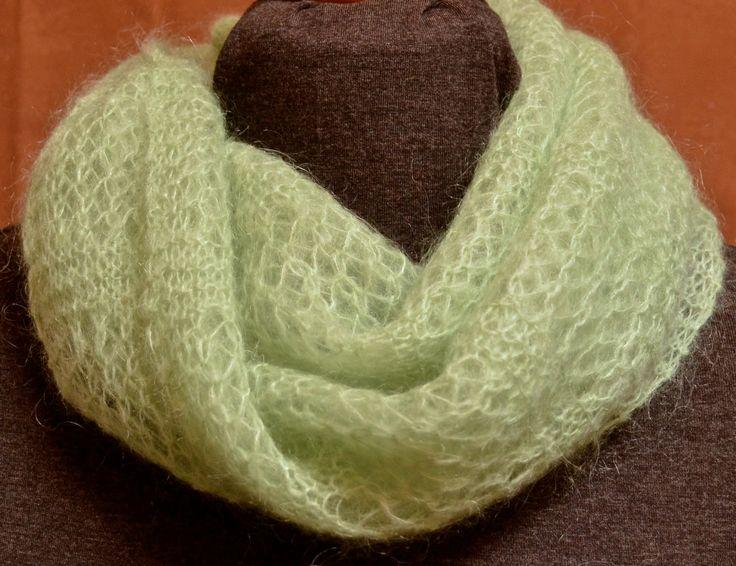 Wisp, knitting pattern by Cheryl Niamath (Knitty)  Yarn: Patons Misty (to substitute Rowan Kidsilk Haze)  Project Notes available here: http://makedoandmendnovice.blogspot.com/2015/08/cast-on-loosely-and-dont-knit-tight.html