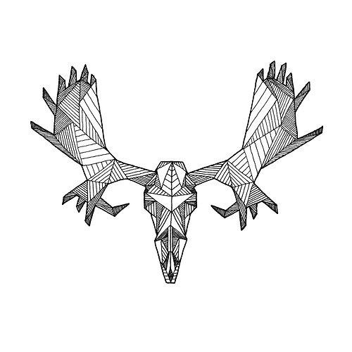 Geometric Moose Skull Drawing - (Digital Art Print from Original Skeleton Illustration)by PigmentPlusSurface  http://etsy.me/ZCdGDS
