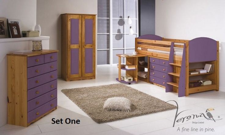 Verona Range Wooden Pine Childrens Mid Sleeper Beds Sets with Lilac Detailing by Verona Design