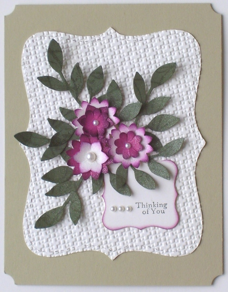 #stampin' up, #sizzix: Stamps Cards, Birds Punch, Cards Ideas, Flowers Cards, Stampin Up Boho Blossoms Punch, Cute Ideas, Purple Flowers, Pretty Cards, Stampin Up Cards