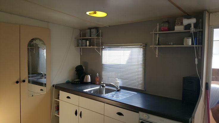 Keuken in onze stacaravan