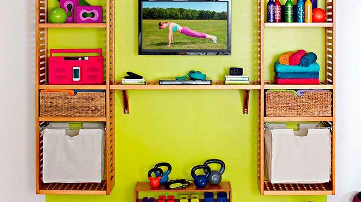 Rangement mural affaires sport yoga gym
