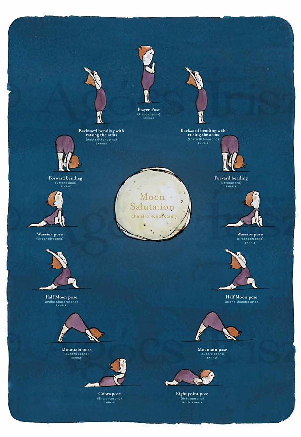 Moon salutation, a cute drawing