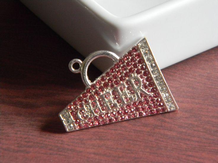 Cheerleader Megaphone Rhinestone Pendant Pink and Silver Necklaces Key Chains Zipper Pulls Birthday Jewelry Cheer Team Coach School Spirit by HouseofHairDecor on Etsy