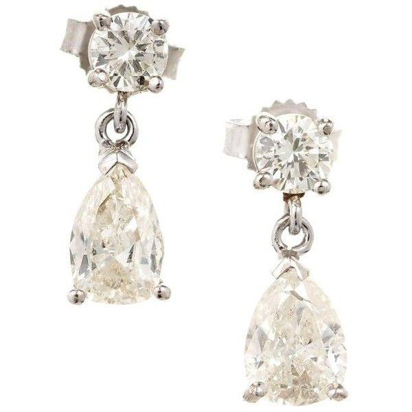 Preowned Round Pear Shaped Diamond White Gold Dangle Earrings (£2,670) ❤ liked on Polyvore featuring jewelry, earrings, dangle earrings, white, 14k white gold earrings, pear diamond earrings, round diamond earrings, long diamond earrings and 14 karat white gold earrings
