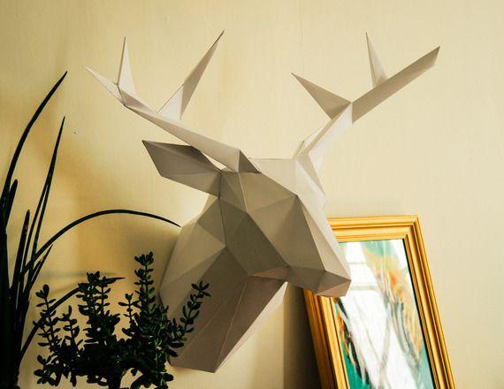 Trophée de chasse Cerf en papier - 78 cm - BLANC