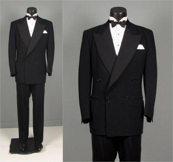 Vintage 1950s Mens Tuxedo Suit  Black Wool 4 x 1 by jauntyrooster