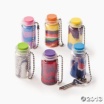 Mini Sand Art Bottle Key Chains + paper = Message in a bottle! ...for craft room?