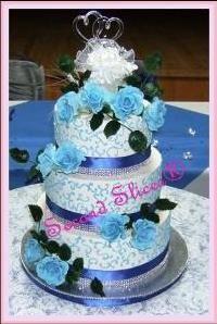 Wedding Cake White n Blue with Blue Roses in Gumpaste