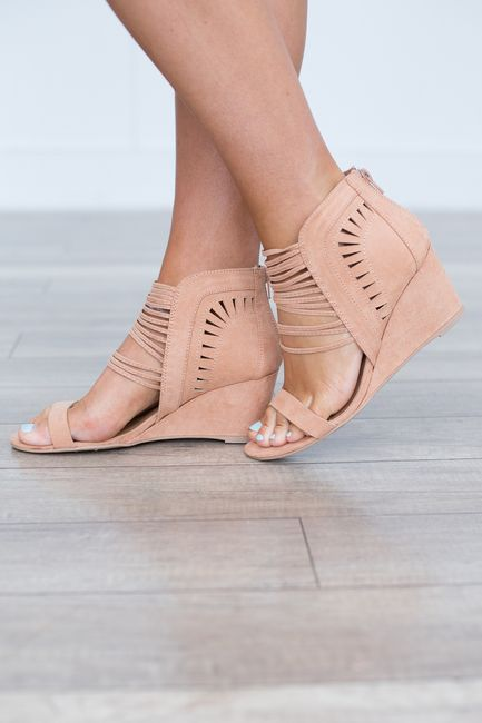Shop our Strap Front Wedges in Blush. Featuring a low heel and zipper back closure . Free shipping on all US orders!