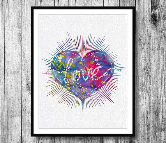 Instant Download Love Heart Watercolor Art by BitterMoonPaperShop