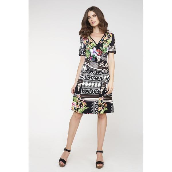 Print Wrapover Dress