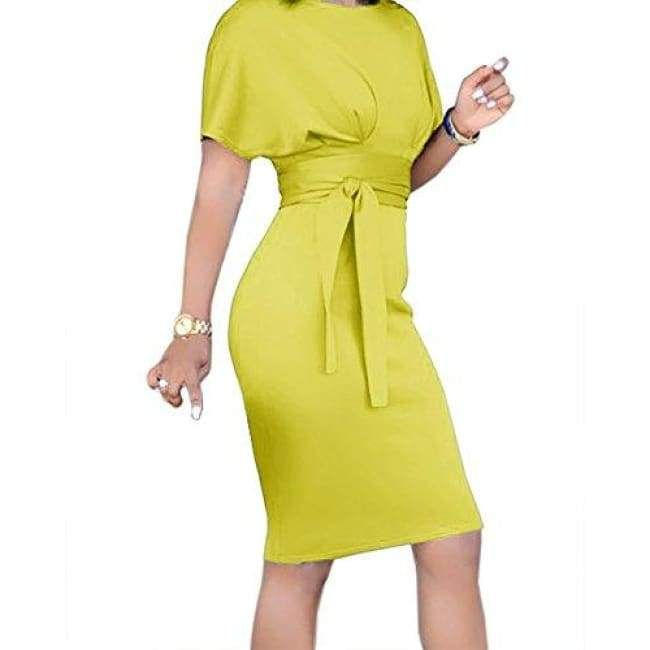 c7215abcef Bodycon Short Sleeve High Waist Party Midi Pencil Dress with Belt in ...