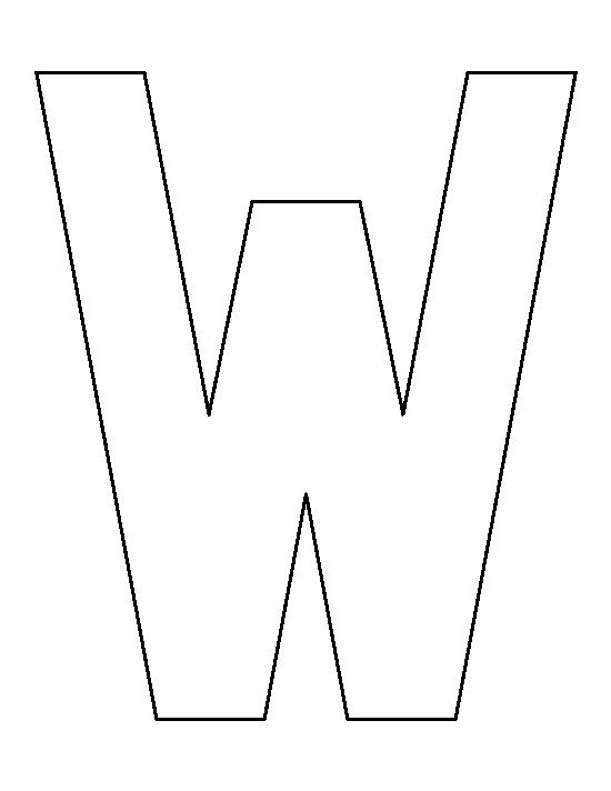 Letter W pattern. Use the printable outline for crafts, creating stencils, scrapbooking, and more. Free PDF template to download and print at http://patternuniverse.com/download/letter-w-pattern/