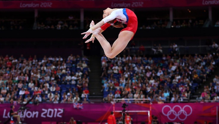 viktoria komova of russia competed on the balance beam