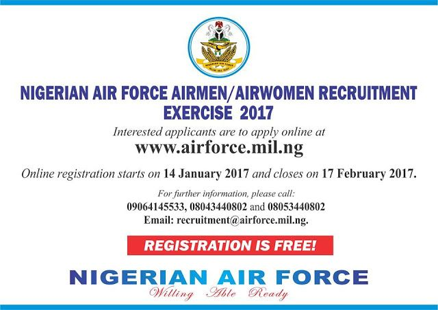 2017 Nigerian Airforce Recruitment Application Form Available [Register Here]   PLEASE READ THE INSTRUCTIONS CAREFULLY  Online Registration starts on 14th January 2017 and closes on 17th February 2017.  GENERAL INSTRUCTIONS  1. Nationality: Applicant must be of Nigerian origin.  2. Age: Applicants must be between the ages of 17 and 22 years for non-tradesmen/women 17 and 24 years for tradesmen/women by 31 December 2017. Those applying as drivers must be between the ages of 18 and 28 years by…